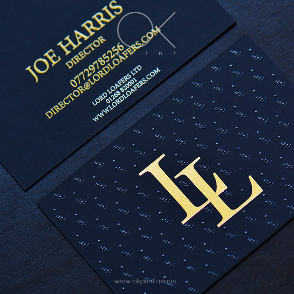 Luxury business cards miami ok print miami luxury business cards with gold foil and thermography for shoe brand colourmoves
