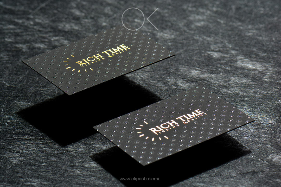 luxury foiled business cards with raised ink for rich time - Raised Lettering Business Cards