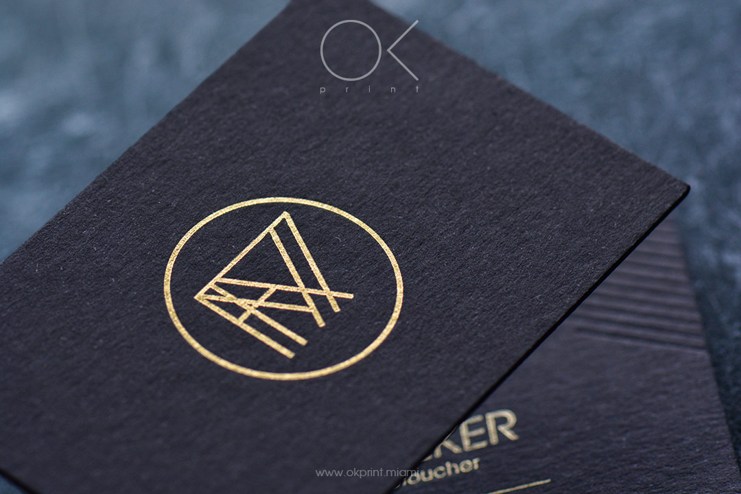 Luxury business cards with debossing and gold foil