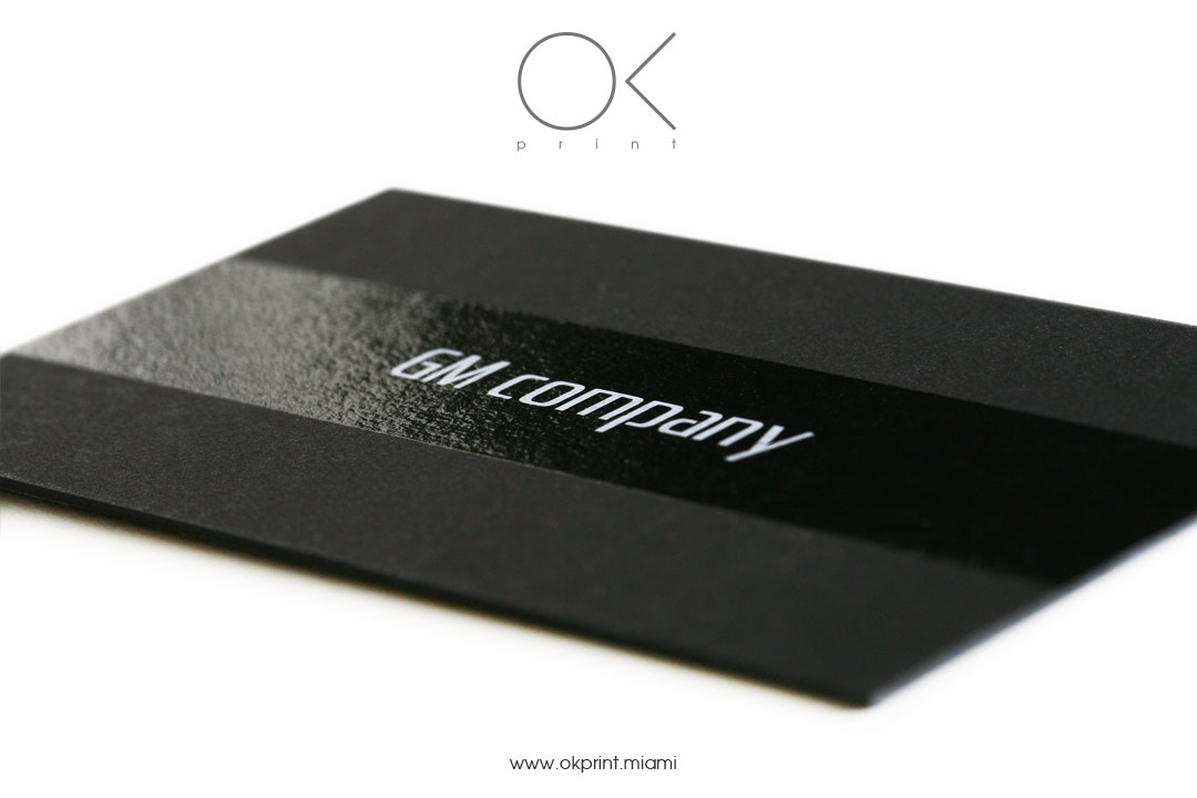 screen printing business cards on black paper with varnish