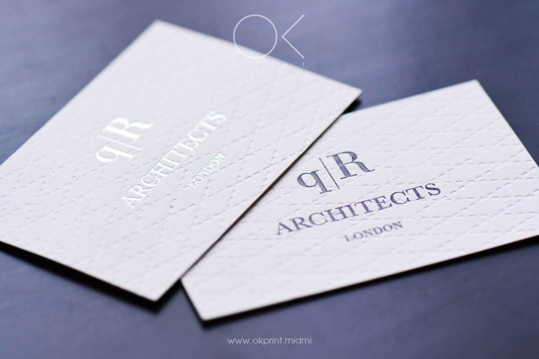 luxury debossed business cards for architects company with foil samping - Business Cards Miami