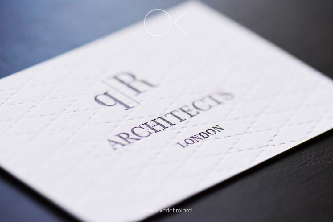 Luxury Debossed Business Cards for Architects Company with Foil Samping