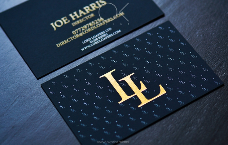 luxury business cards with gold foil and thermography for shoe brand - Thermography Business Cards