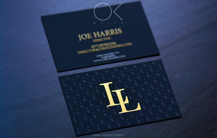 luxury business cards for shoe brand lord loafers ok print miami