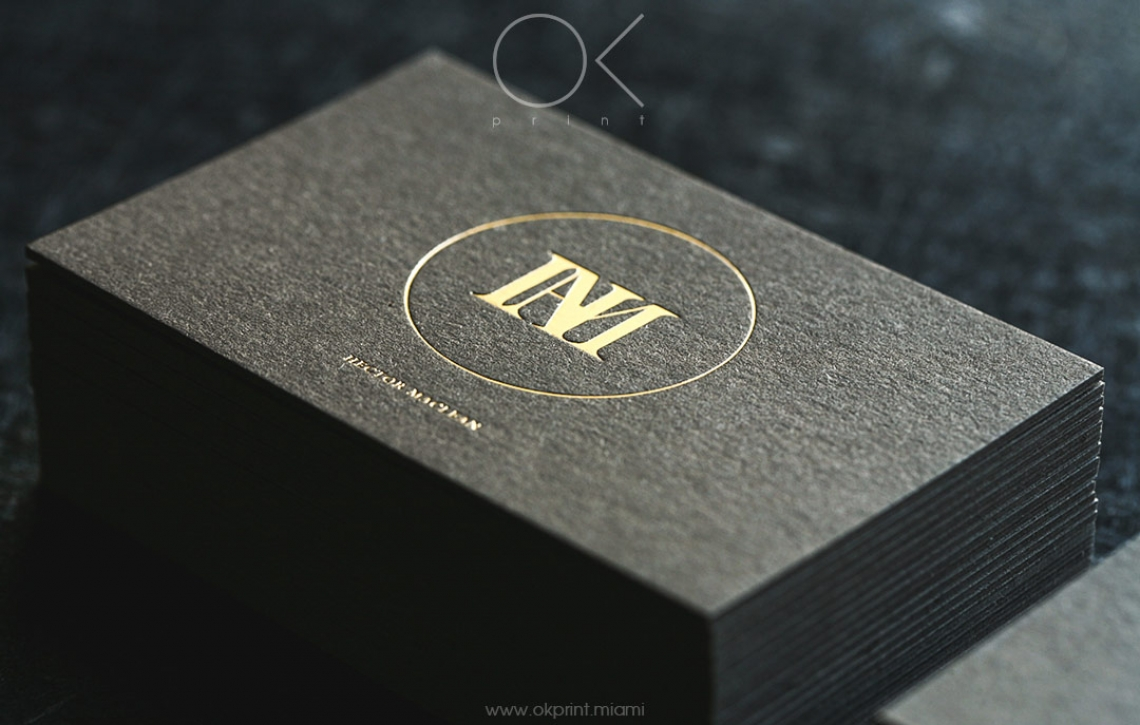 Luxury business card with foiling hector maclean ok print miami luxury business cards with gold foil for designer reheart Images