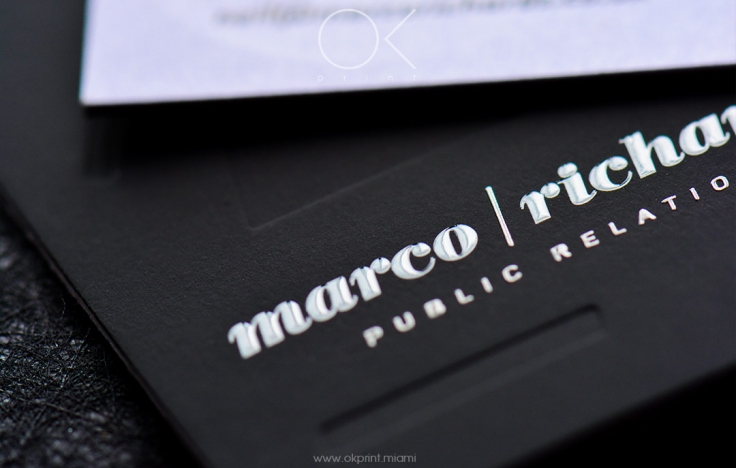 Luxury debossed business cards for public relations agency ok luxury debossed business cards with thermography colourmoves