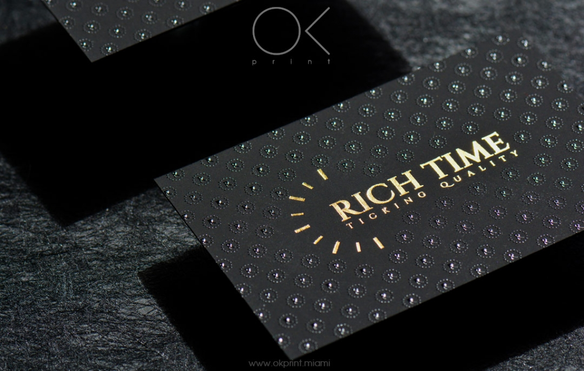 """LUXURY FOILED BUSINESS CARDS WITH RAISED INK FOR """"RICH TIME"""" – OK ..."""