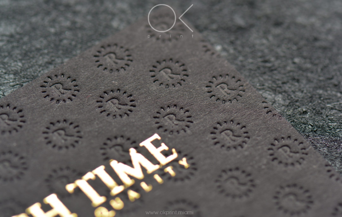 "LUXURY FOILED BUSINESS CARDS WITH RAISED INK FOR ""RICH TIME"" – OK ..."