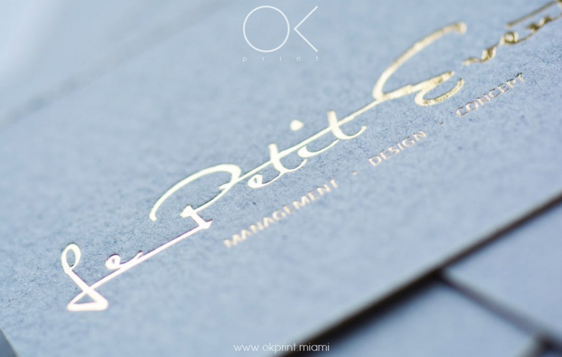 LUXURY BUSINESS CARDS FOR EVENT MANAGEMENT COMPANY – OK PRINT, MIAMI