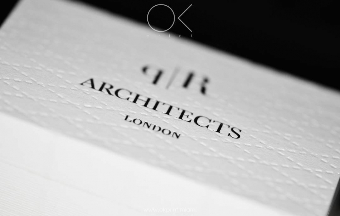 LUXURY DEBOSSED BUSINESS CARDS FOR ARCHITECTS COMPANY – OK PRINT, MIAMI