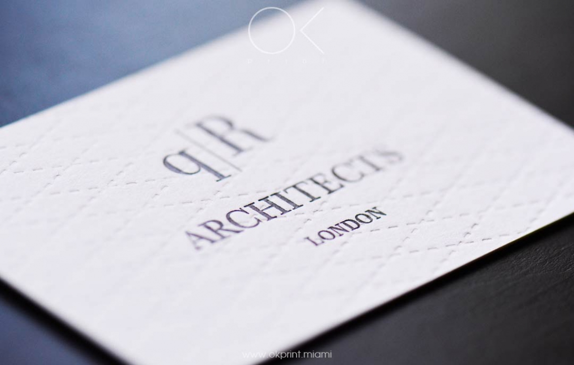 luxury debossed business cards for architects company – ok print